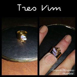 New Tres Vim Moonstone/Opalite goldplate midi ring